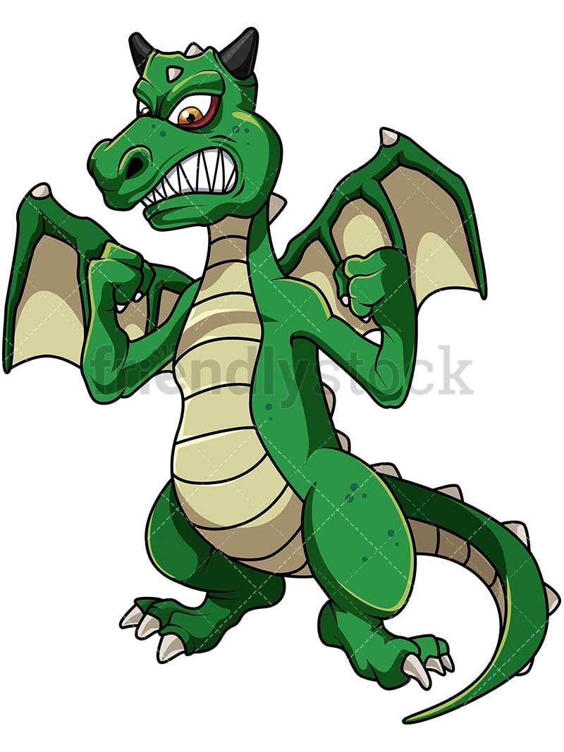 green angry dragon cartoon vector clipart friendlystock