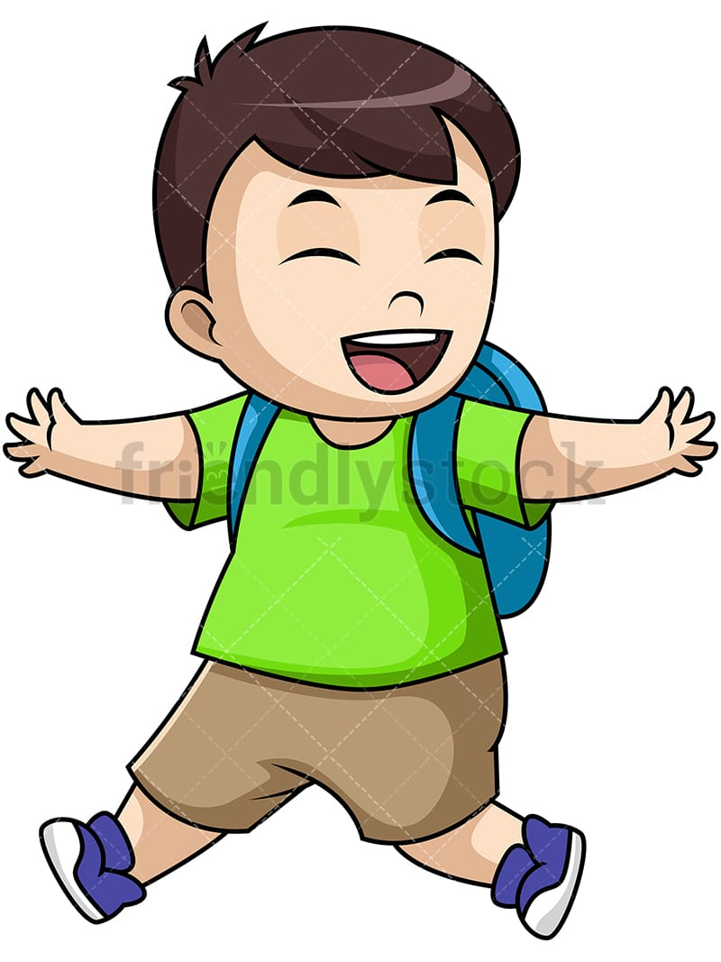 happy boy school student cartoon vector clipart - friendlystock
