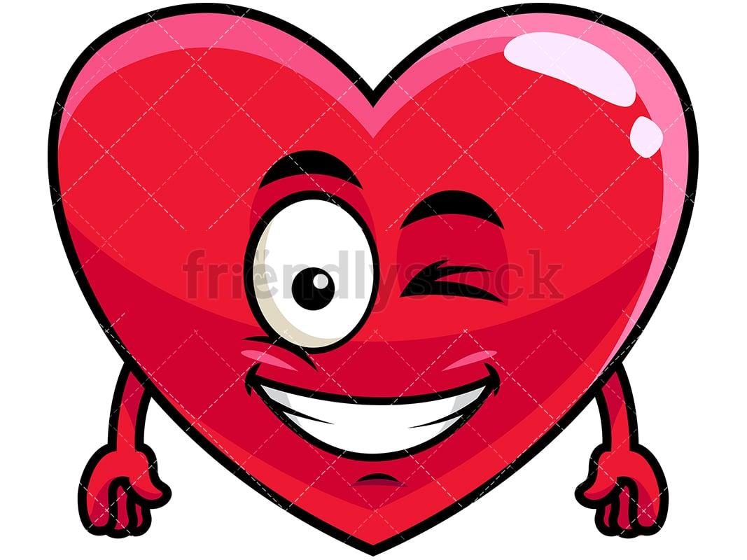 winking and smiling heart emoji cartoon vector clipart - friendlystock