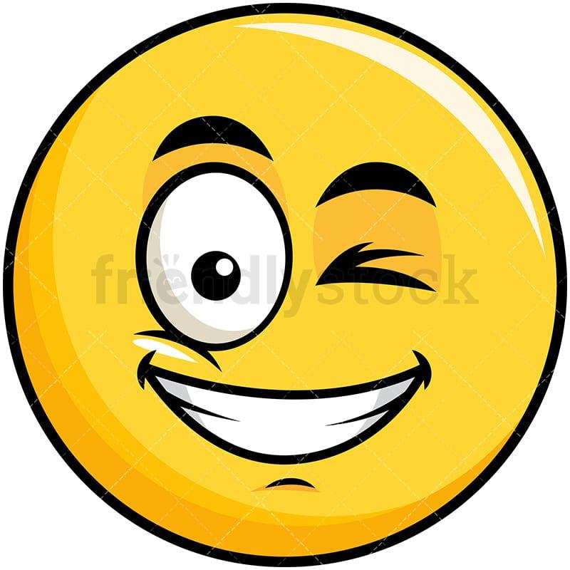 winking and smiling yellow smiley emoji cartoon vector clipart rh friendlystock com Large Winking Eye Clip Art Cartoon Winking Eye