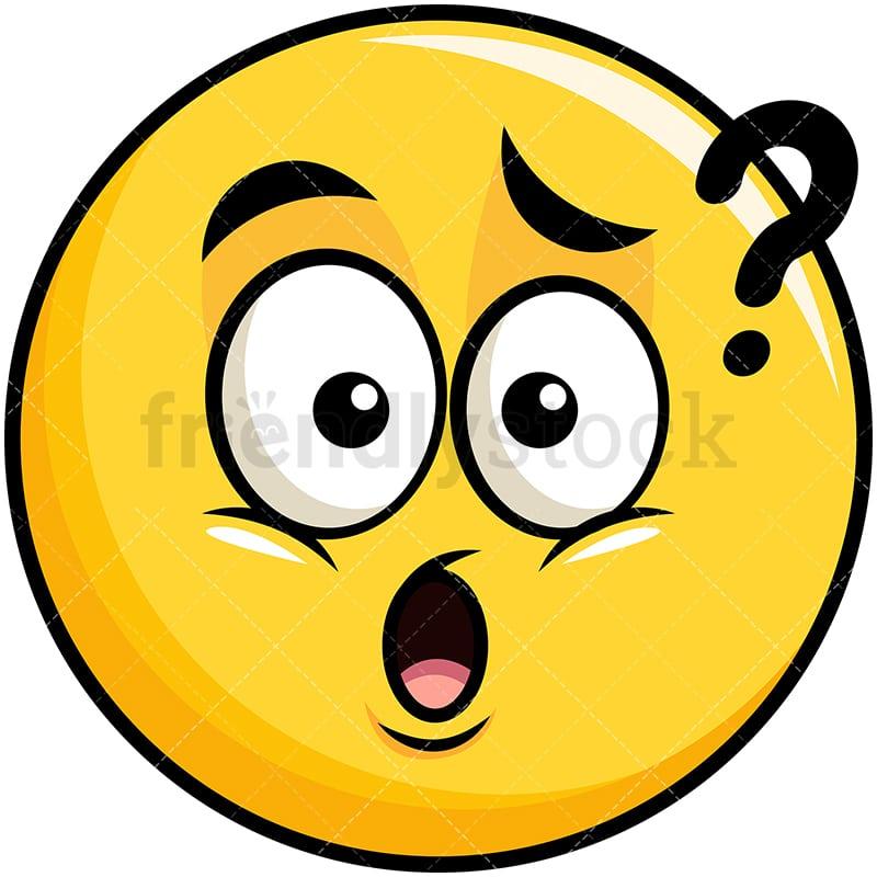 confused yellow smiley emoji cartoon vector clipart friendlystock