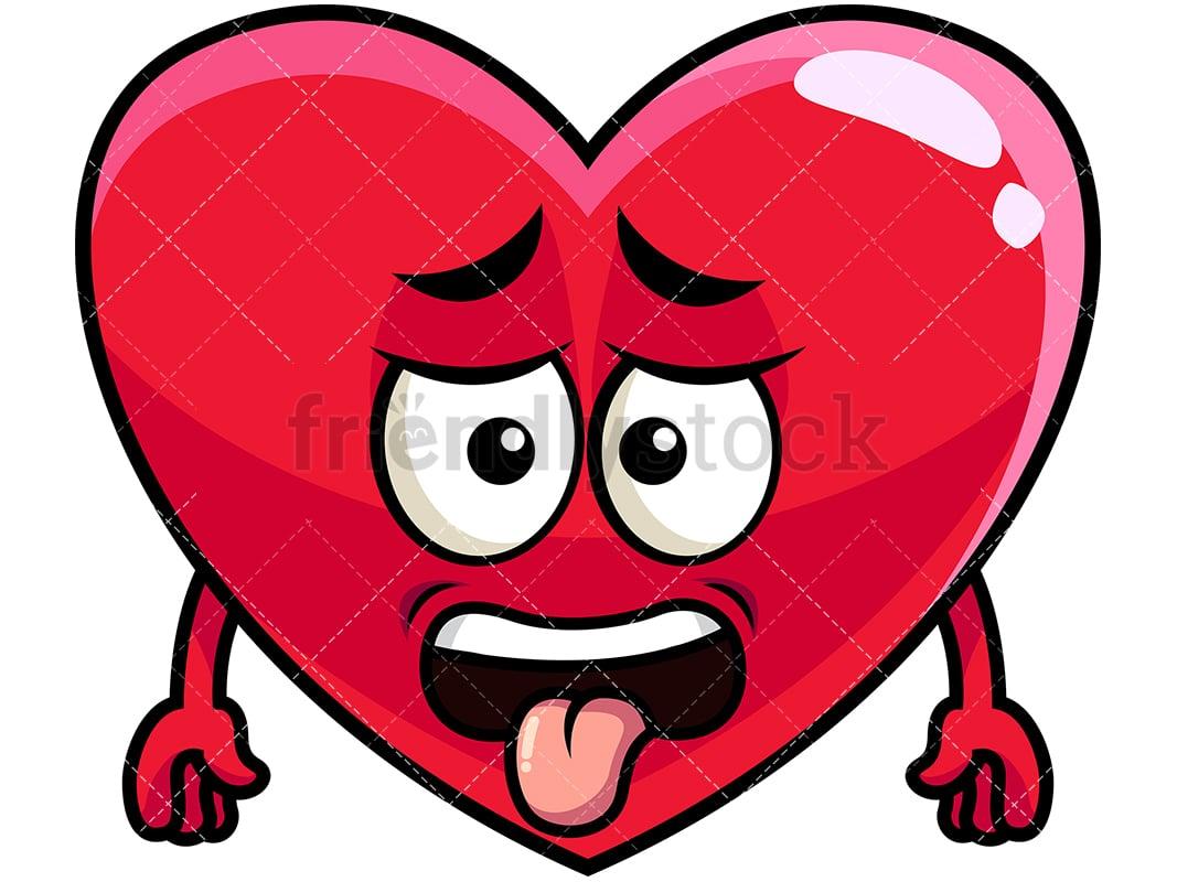 Disgusted heart emoji vector cartoon clipart