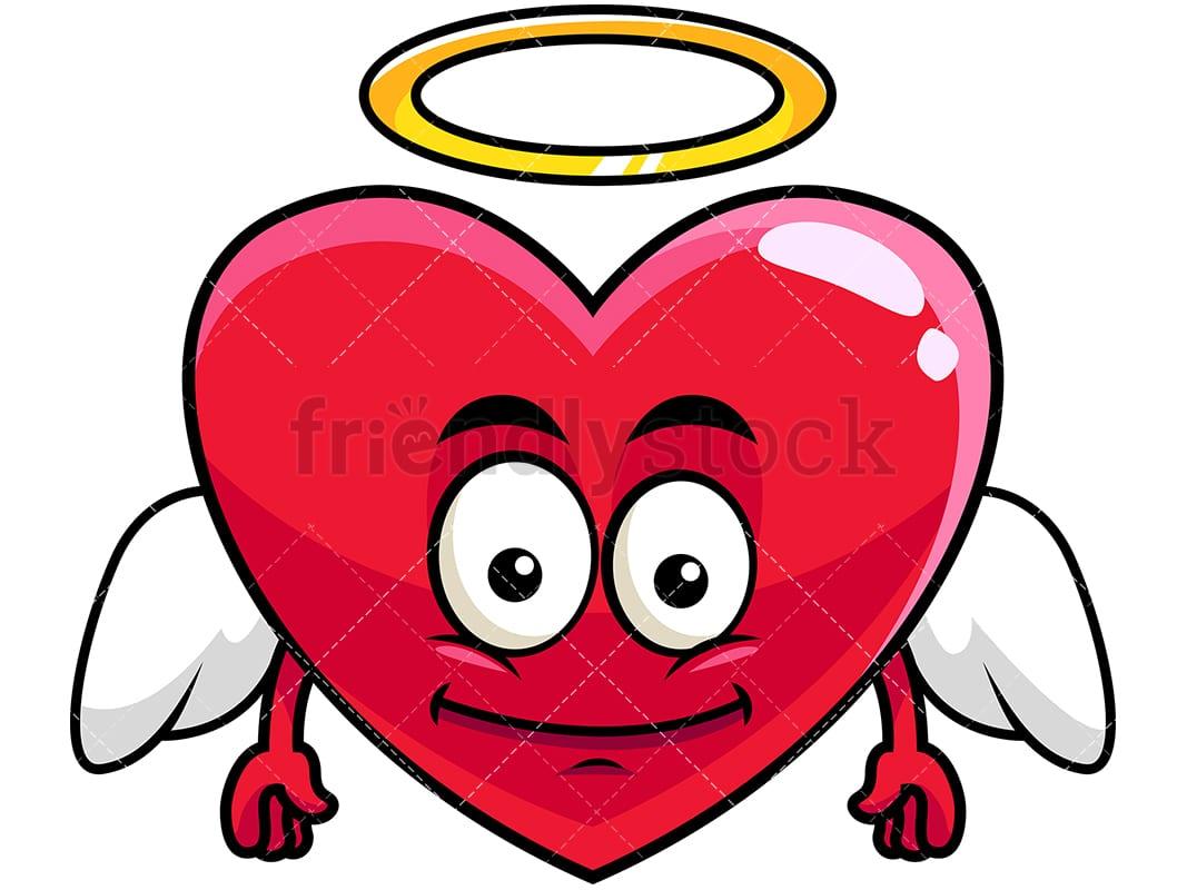 winged angel heart emoji cartoon vector clipart - friendlystock