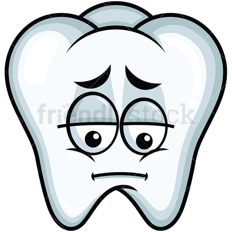 Depressed Tooth Emoji Cartoon Vector Clipart Friendlystock