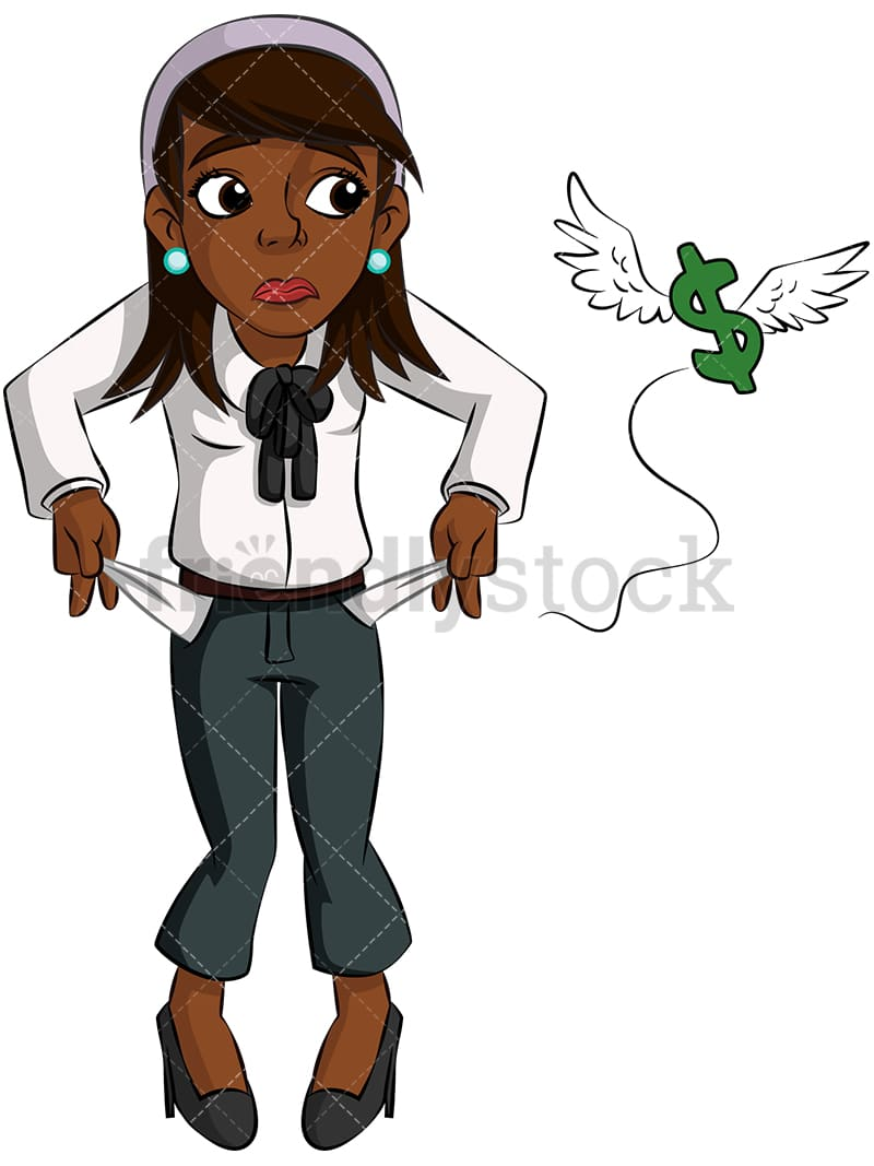 Black Businesswoman With No Money Vector Cartoon Clipart - FriendlyStock