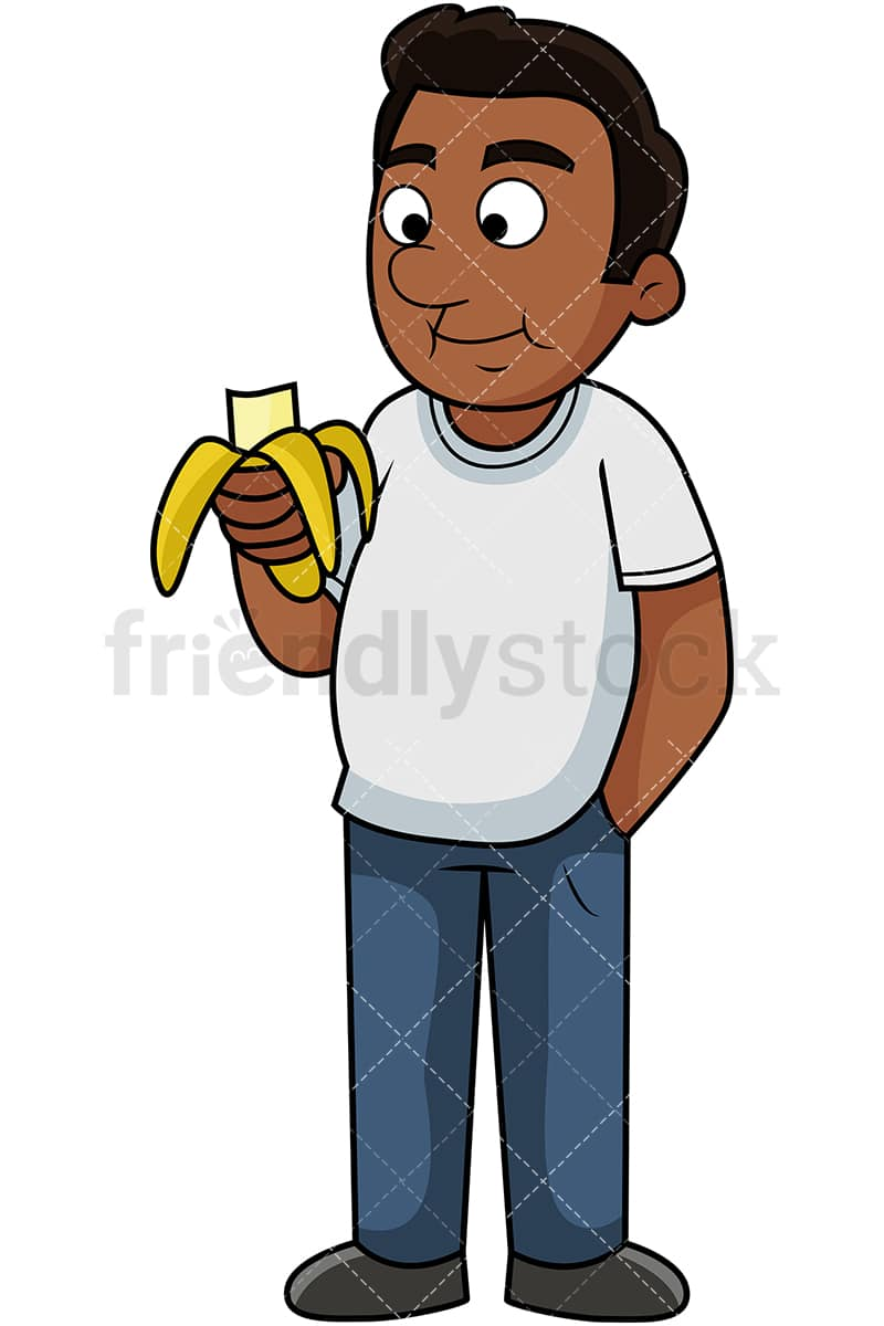 Black Man Eating Banana Cartoon Vector Clipart Friendlystock