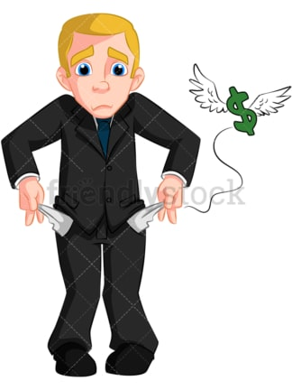 Business man with no money. PNG - JPG and vector EPS (infinitely scalable). Image isolated on transparent background.