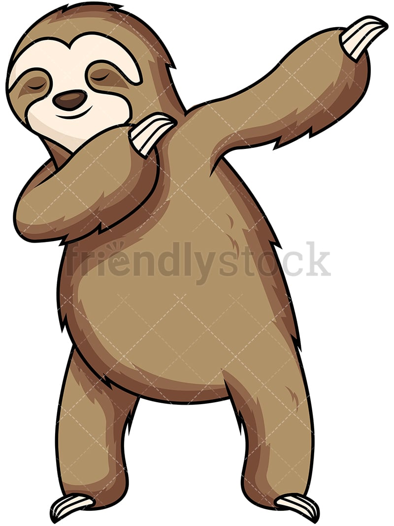 dabbing sloth cartoon vector clipart friendlystock rh friendlystock com sloth clipart black and white sloth clipart outline
