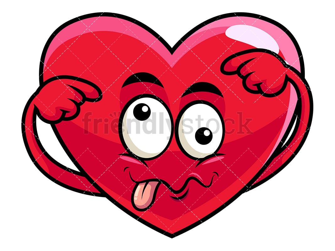 Goofy crazy eyes heart emoji vector cartoon clipart