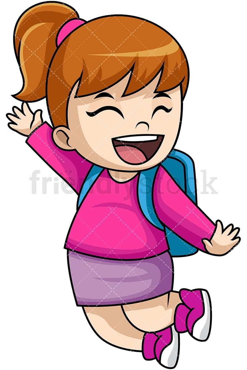 happy girl school student cartoon vector clipart friendlystock rh friendlystock com Confused Girl Student Clip Art boy and girl student clipart