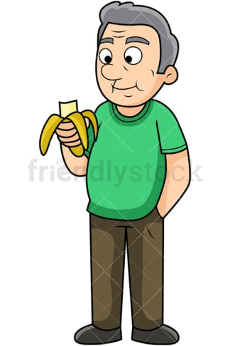Old man enjoying banana. PNG - JPG and vector EPS. Image isolated on transparent background.