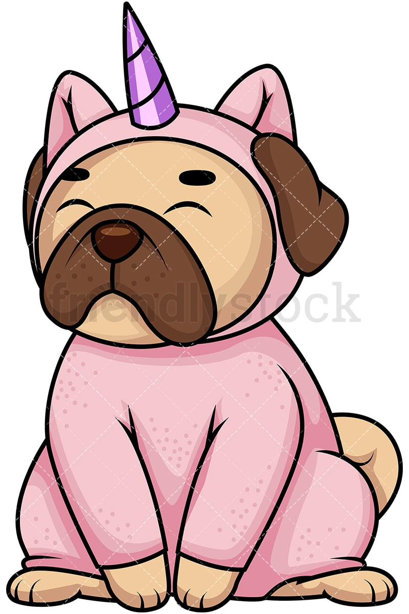 Pug dog in unicorn costume. PNG - JPG and vector EPS file formats (infinitely  sc 1 st  FriendlyStock & Pug Dog In Unicorn Costume Cartoon Vector Clipart - FriendlyStock