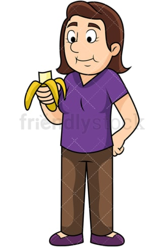 Woman enjoying banana. PNG - JPG and vector EPS. Image isolated on transparent background.
