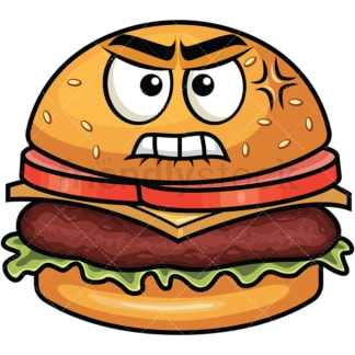 Angry hamburger emoticon. PNG - JPG and vector EPS file formats (infinitely scalable). Image isolated on transparent background.