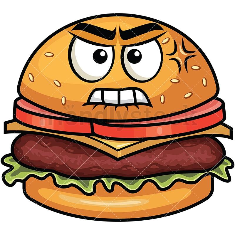 angry hamburger emoji cartoon vector clipart friendlystock rh friendlystock com cartoon hamburger show cartoon hamburger and hotdog