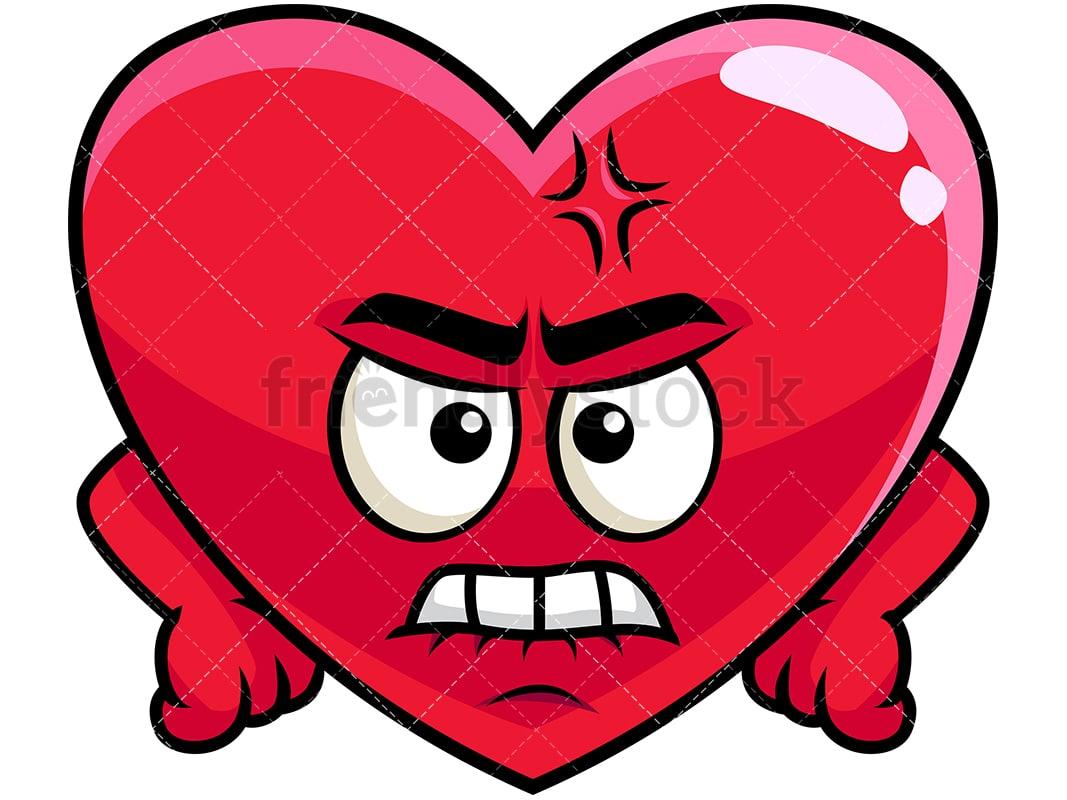 Angry Heart Emoji Cartoon Vector Clipart Friendlystock