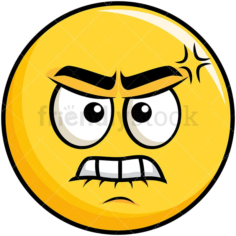 Angry Yellow Smiley Emoji Cartoon Vector Clipart Friendlystock