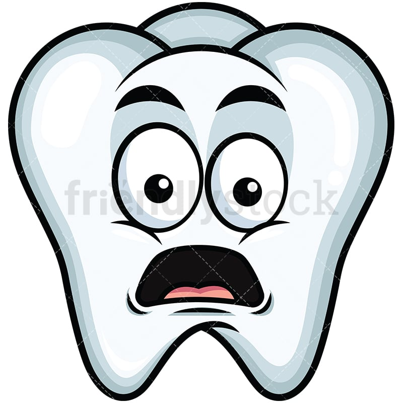 shocked tooth emoji cartoon vector clipart - friendlystock