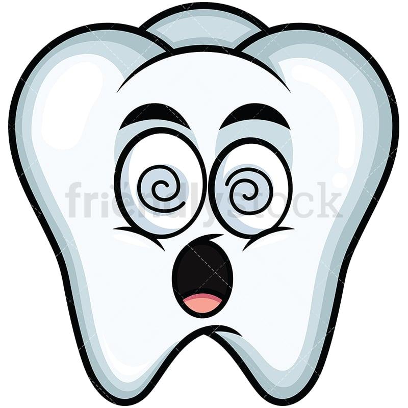 Stunned Tooth Emoji Cartoon Vector Clipart