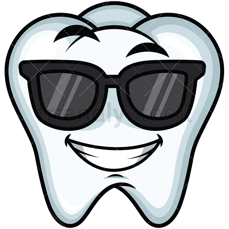 Cool Tooth Wearing Sunglasses Emoji Cartoon Vector Clipart Friendlystock