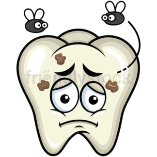 Decaying tooth emoticon. PNG - JPG and vector EPS file formats (infinitely scalable). Image isolated on transparent background.