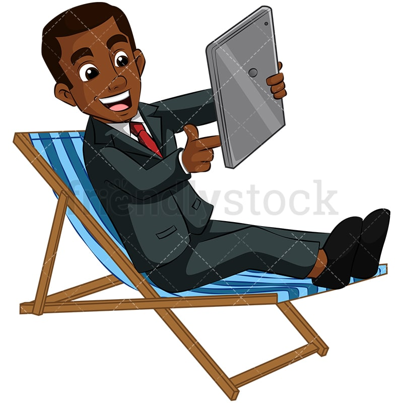 Wondrous A Black Businessman Sitting In A Beach Chair Holding A Tablet Squirreltailoven Fun Painted Chair Ideas Images Squirreltailovenorg