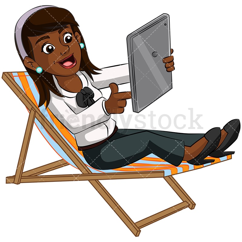 Astonishing A Successful Black Businesswoman In A Beach Chair Holding Tablet Machost Co Dining Chair Design Ideas Machostcouk