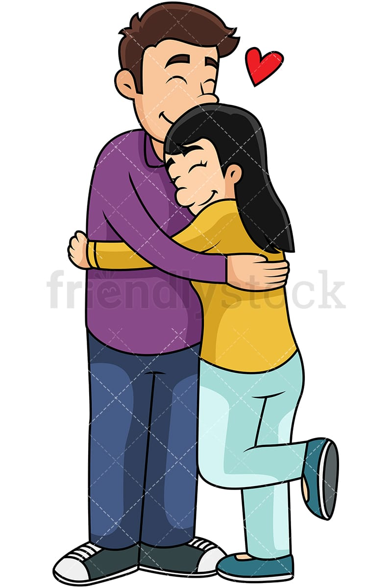 cartoon man and woman hugging vector clipart friendlystock rh friendlystock com hugging cartoon photo hugging cartoon pictures