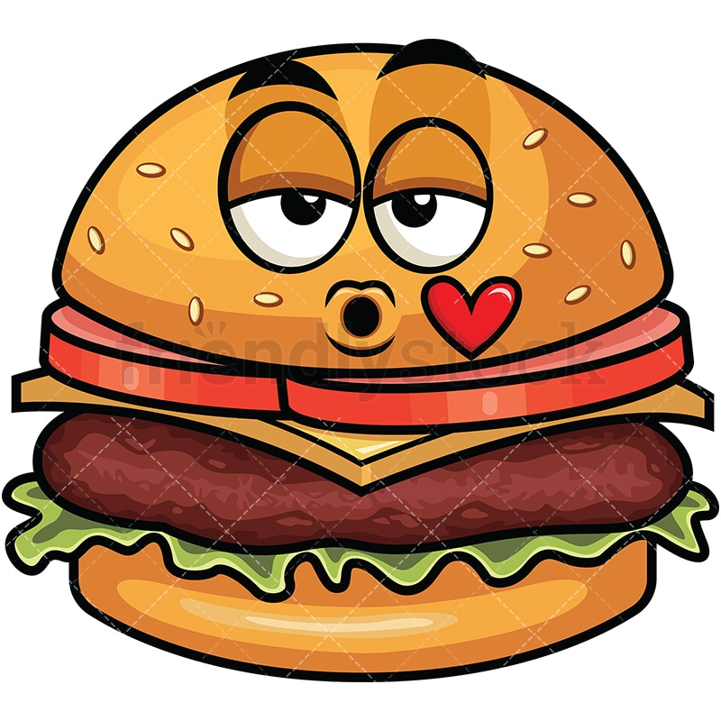 hamburger blowing a kiss emoji cartoon vector clipart friendlystock
