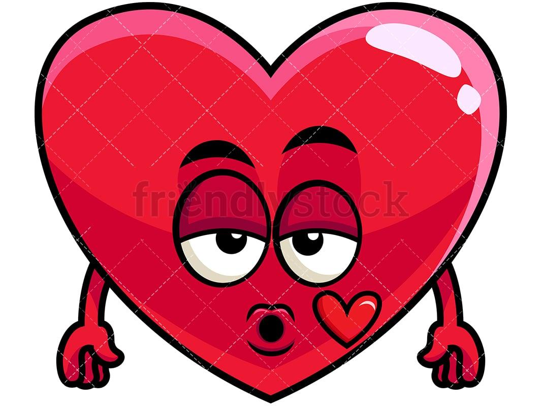 heart blowing a kiss emoji cartoon vector clipart friendlystock