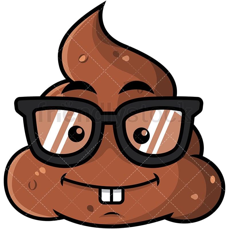 geeky poop emoji cartoon vector clipart friendlystock rh friendlystock com
