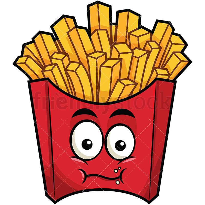 chewing french fries emoji cartoon vector clipart friendlystock rh friendlystock com french fries clip art images french fry clip art free