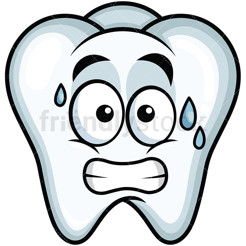 Sweating Tooth Emoji Cartoon Vector Clipart