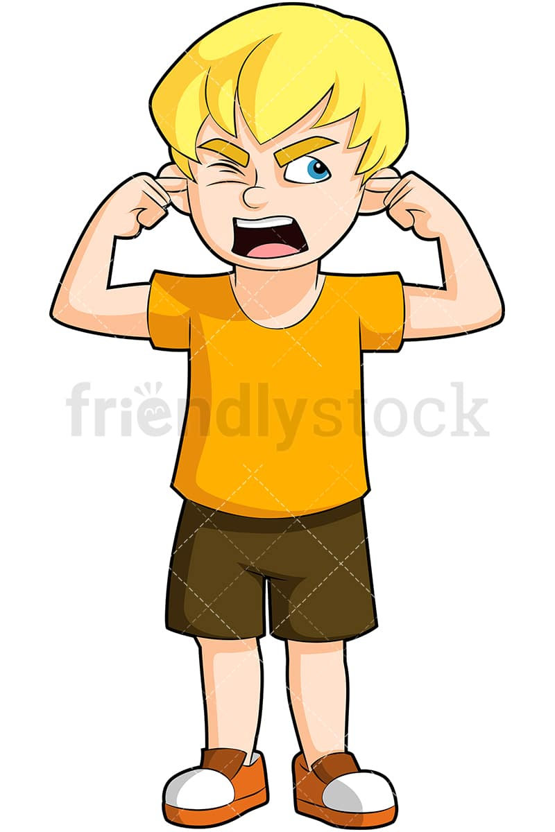 Angry Boy Covering Ears Yelling Cartoon Vector Clipart Friendlystock