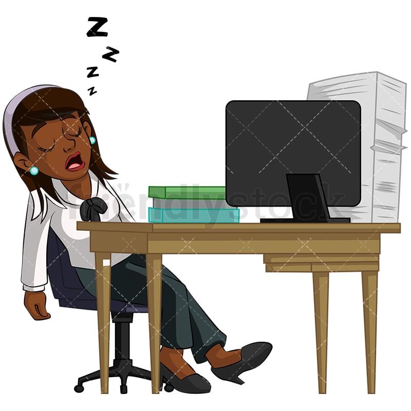 Black Businesswoman Sleeping In Office Cartoon Vector Clipart