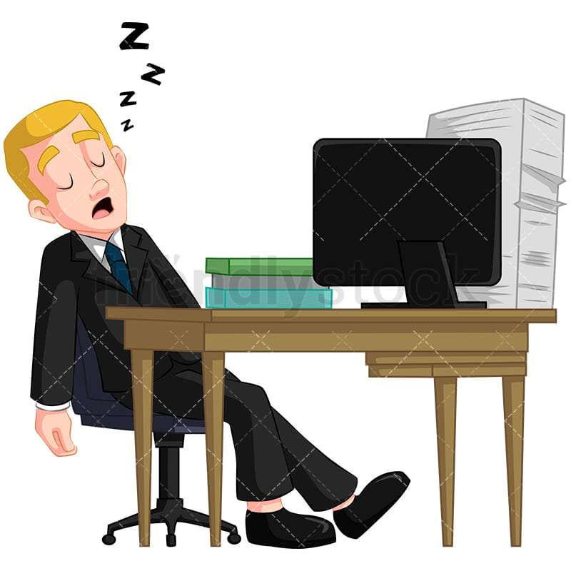 A Businessman Sleeping While Sitting Up At His Desk