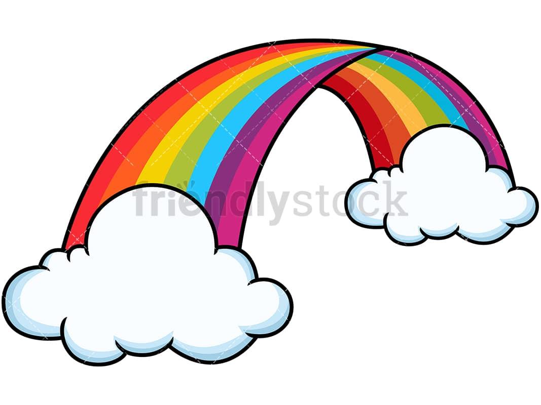 curved rainbow between clouds cartoon vector clipart friendlystock