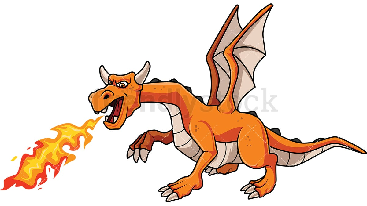 dragon breathing fire cartoon vector clipart friendlystock rh friendlystock com clip art dragonfly clipart dragon black and white