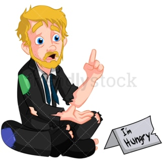 Poor business man turned hobo. PNG - JPG and vector EPS (infinitely scalable). Image isolated on transparent background.