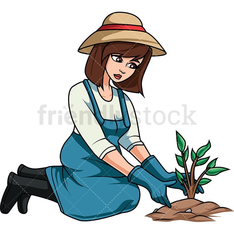 Woman Planting Tree Cartoon Vector Clipart Friendlystock