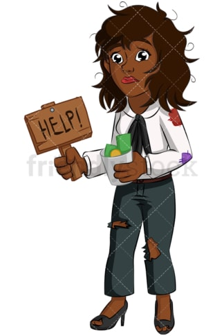 Black businesswoman begging for money. PNG - JPG and vector EPS (infinitely scalable). Image isolated on transparent background.