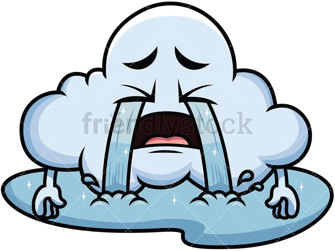 Crying Out Loud Cloud Emoji Cartoon Vector Clipart Friendlystock