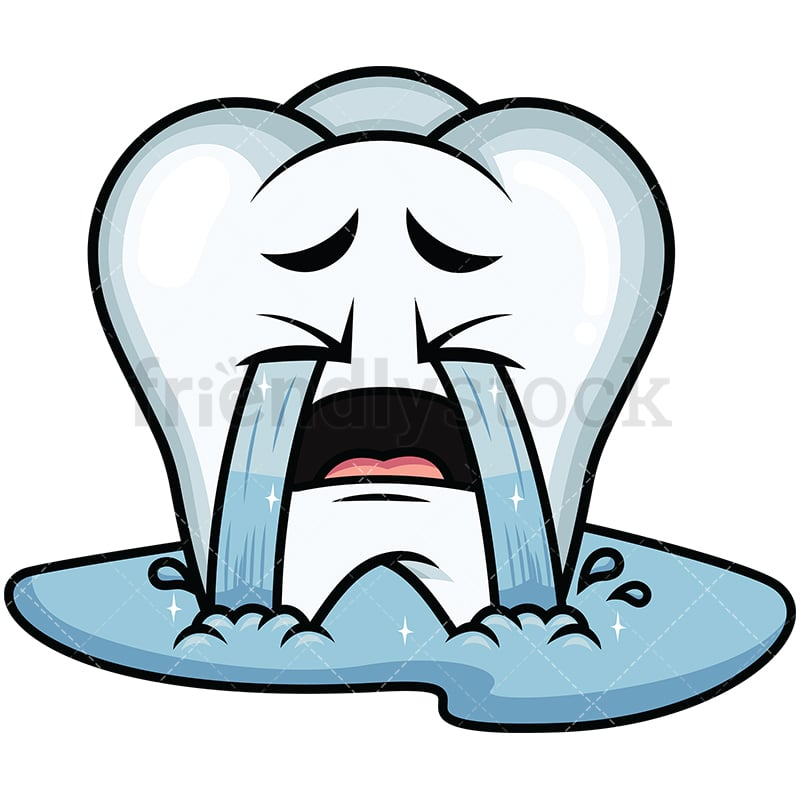 Crying Out Loud Tooth Emoji Cartoon Vector Clipart Friendlystock