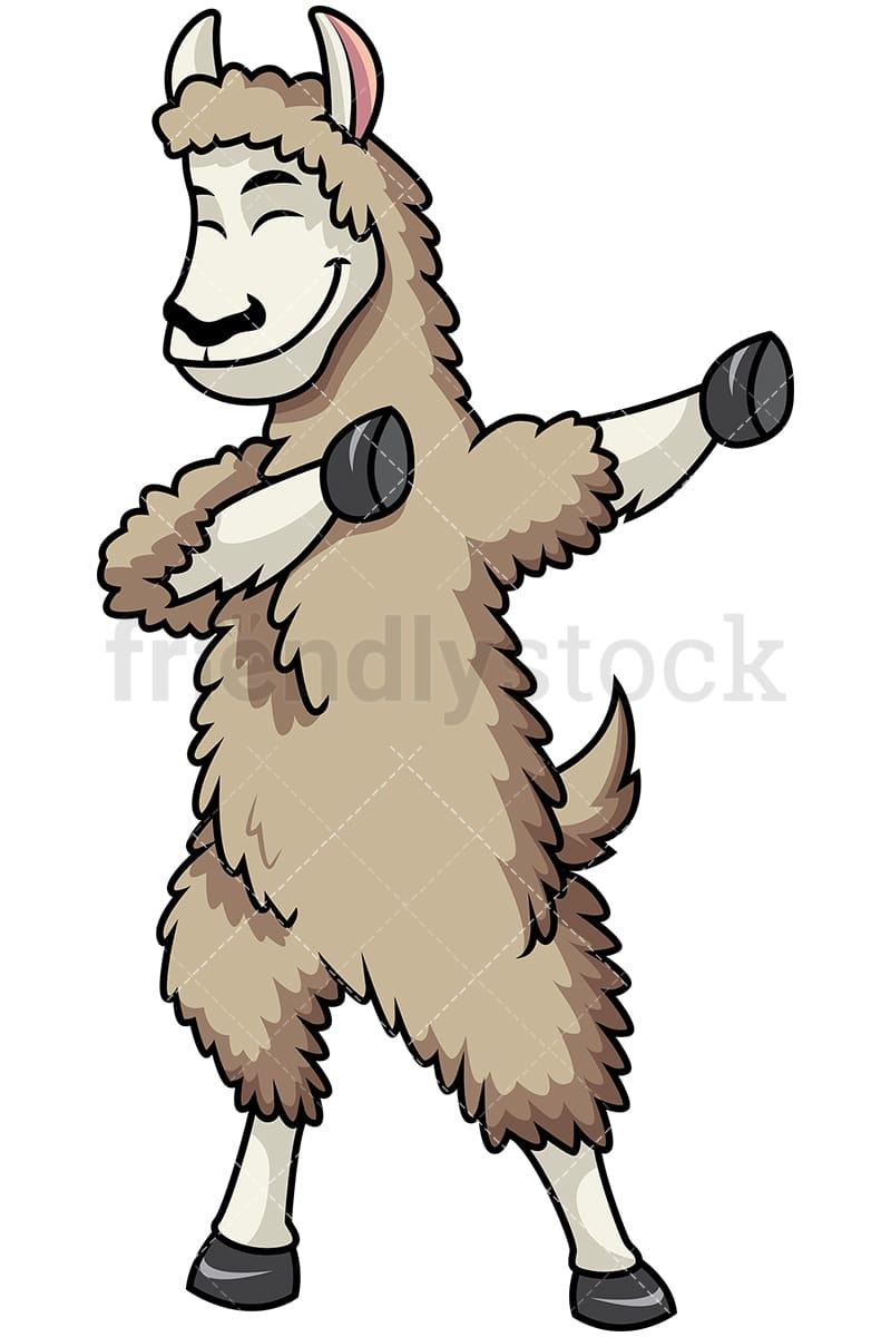 dabbing llama cartoon vector clipart - friendlystock
