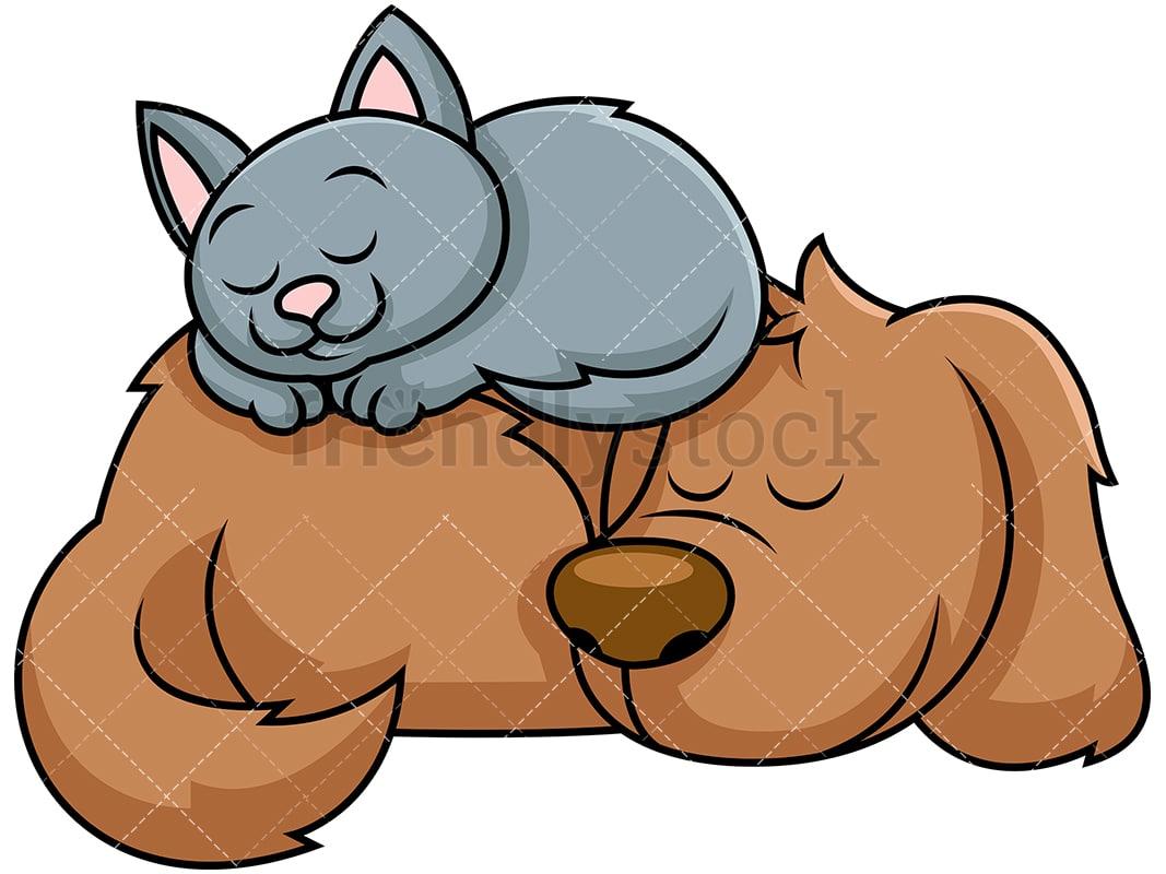 Dog And Cat Sleeping Together Cartoon Vector Clipart Friendlystock