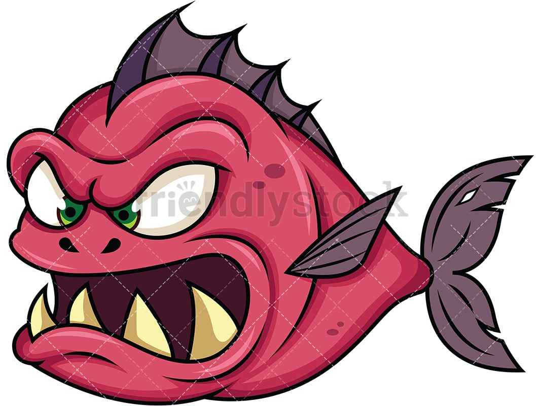 evil piranha fish monster cartoon vector clipart friendlystock rh friendlystock com Printable Pictures of Piranhas piranha clipart