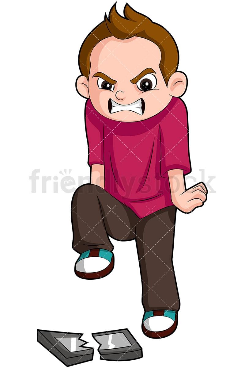 Naughty Boy Breaking Tablet Cartoon Vector Clipart Friendlystock
