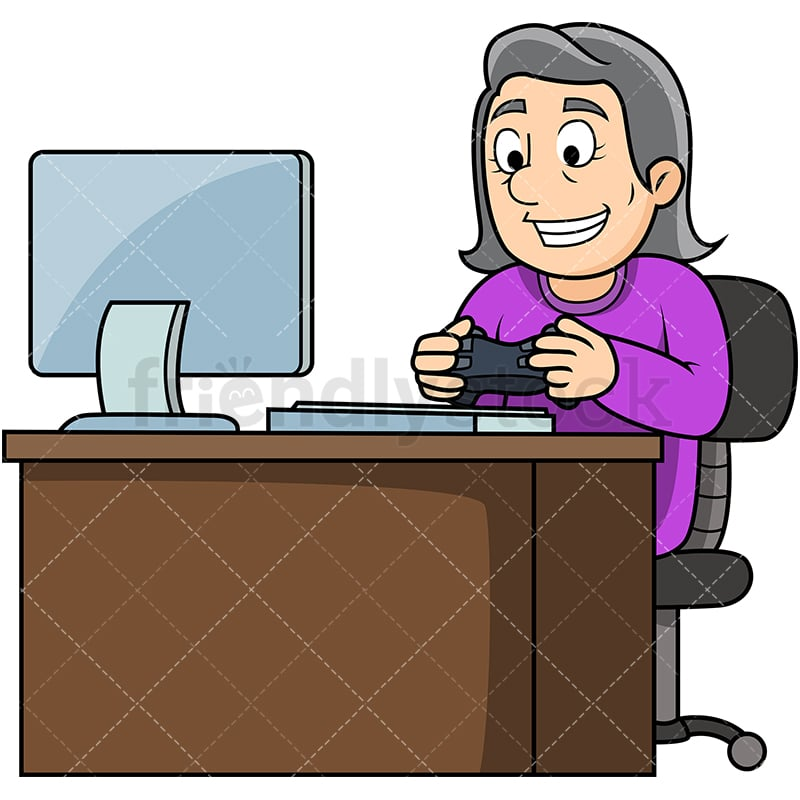 Old Woman Playing Video Games Cartoon Vector Clipart - FriendlyStock