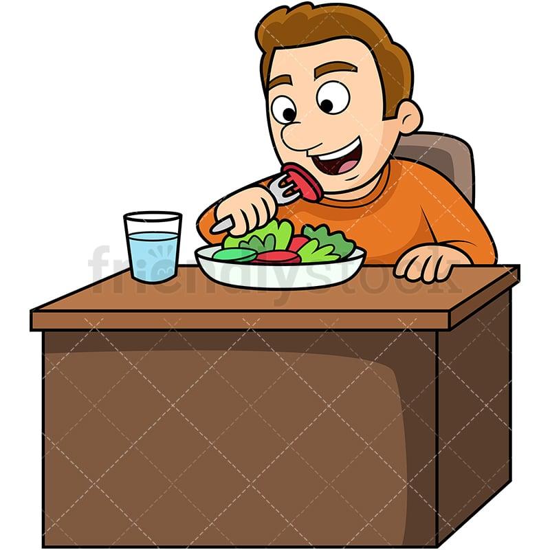 Man Eating Salad Cartoon Vector Clipart Friendlystock