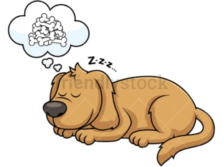 Sleeping dog dreaming of bones. PNG - JPG and vector EPS file formats (infinitely scalable). Image isolated on transparent background.